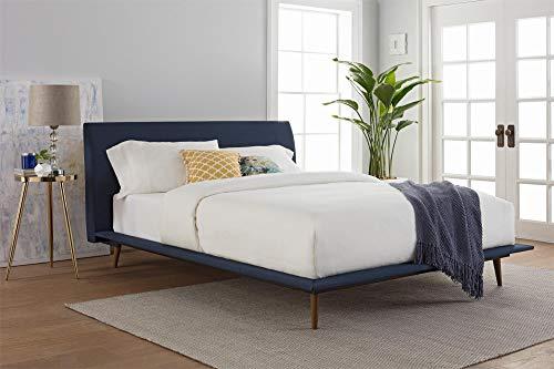 DHP Jon Mid Century Bed, Blue Linen, Queen