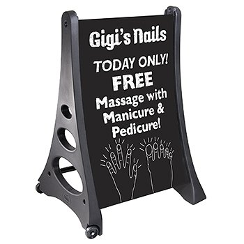 24'' x 36'' QLA Outdoor Plastic Rolling Sidewalk Curb Sign A Frame Sign with Eraseable Chalk Board, White by Magic Master