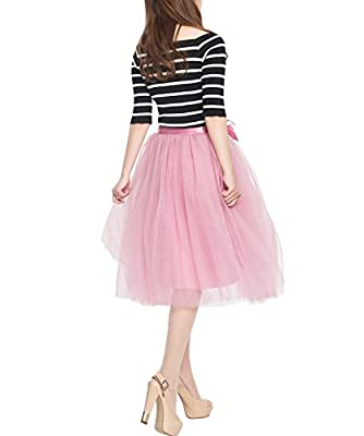 Women's High Waist Princess A Line Midi/Knee Length Tulle Pleated Skirt for Prom Party