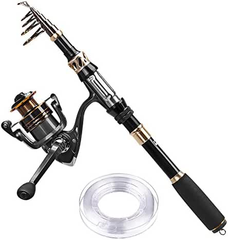 PLUSINNO Telescopic Fishing Rod and Reel Combos with Line Carbon Fiber Fishing Pole Portable Fishing Gear Stainless Steel Spinning Fishing Kit