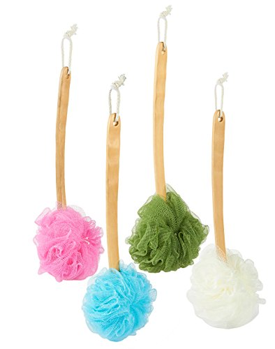 Body Wash Sponge Bath Puff - 4-Pack Exfoliating Mesh Shower Pouf Loofah Brush with Handles, 4 Assorted Colors, 16 x 6.3 x 4.72 Inches from Juvale