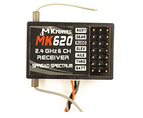 Accessories Mkron 2.4GHZ 6CH MK620 Receiver with Satellite Better Than ar6200 Support DX6i JR DSM-2 Transmitter - (Color: Receiver w Satellite)