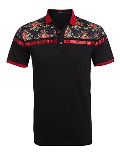 Coofandy Men's Classic Floral Stripe Long Short Sleeve Light Weight Polo Shirts Type 1 Black Medium