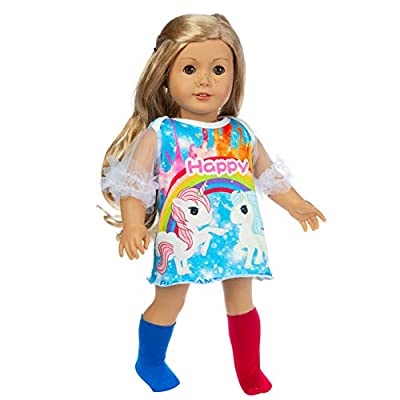 Ecore Fun 18 Inch Doll Clothes Outfit Dress Sock for American 18 Inch Girl Doll, Generation Doll, Life Doll: Toys & Games