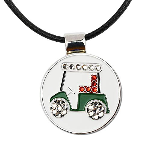 PINMEI Bling Golf Cart Ball Marker with Magnetic Golf Marker Necklace Golf Gift for Women (Bling Golf Cart) (Ball Necklace Marker)