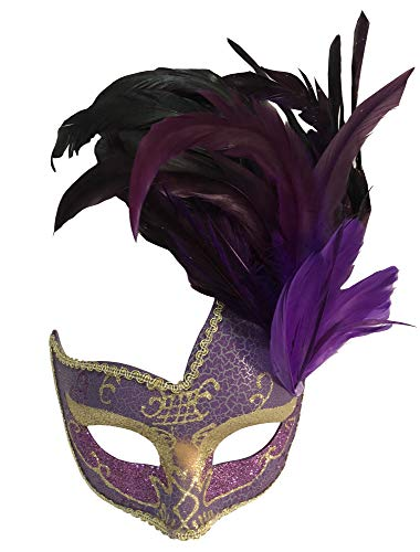 Purple Costume Feather Mask - Sheliky Costume Mask Feather Masquerade Mask Halloween Mardi Gras Cosplay Party Masque (Purple)