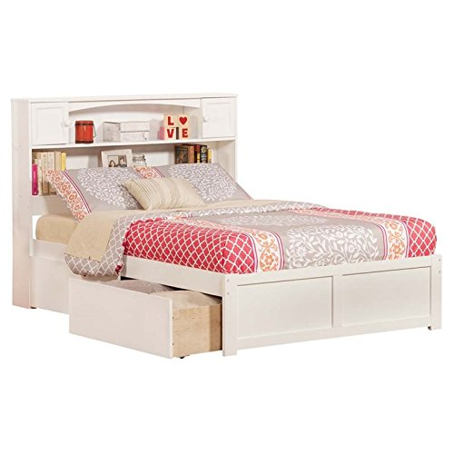 White Full Panel Bed (Newport Full Flat Panel Foot Board with 2 Urban Bed Drawers, White)