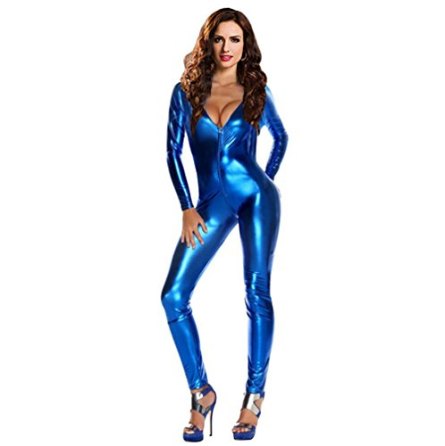 Sexy Wet Look Pole Dance Wear Catsuit Erotic Game (Blue) (Sexy Inmate Costumes)