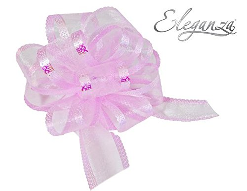 Eleganza Light Pink 50mm Waterproof Organza Poly Pull Bow (Pack of 5)