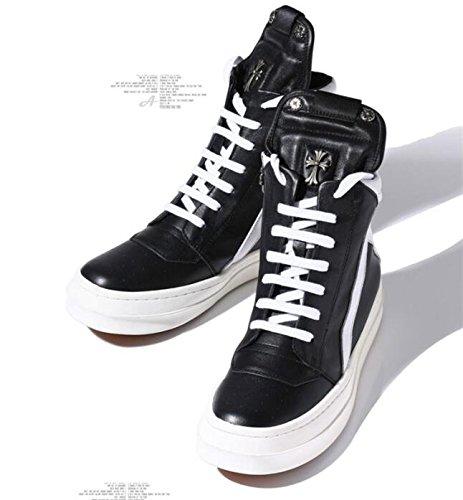 Happyshop (tm) Heren Echt Leer Hoge Schoenen Martin Laarzen Enkellaars Mode Koreaanse Bordschoenen Zwart Met Wit