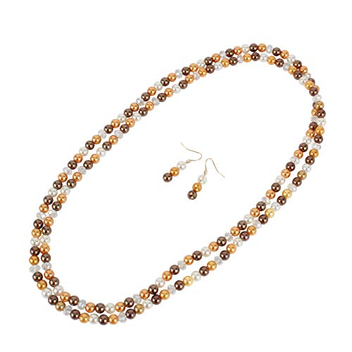 LuckyHouse Faux Pearl Statement Necklace Costume Long Orange Necklace Earrings Jewelry 53.9