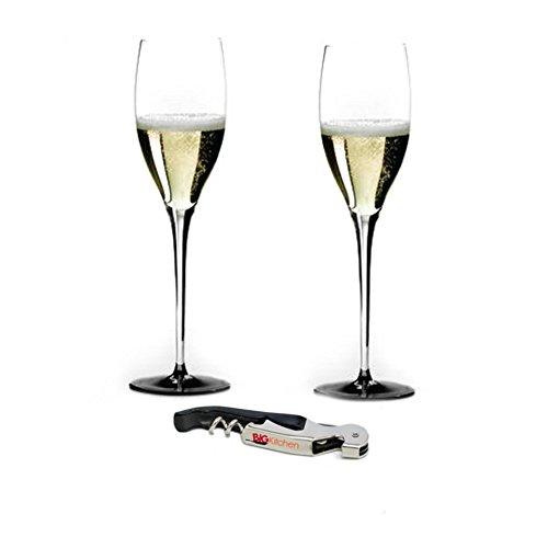 (Riedel Sommeliers Black Tie Leaded Crystal Vintage Champagne 2 Piece Glass Set with Bonus BigKitchen Waiter's Corkscrew)