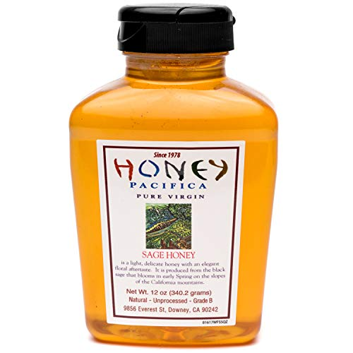 Wild Sage Honey - Honey Pacifica Sage Honey, 12 oz. Squeeze Jar, Unfiltered, Unprocessed Honey Direct From a California Beekeeper