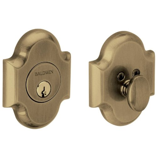 (Baldwin 8252 Boulder Arched Single Cylinder Deadbolt from the Images Collection, Satin Brass and Black)