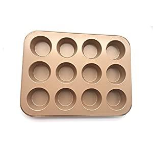 12 Cups Heavy-Carbon Steel Muffin & Cupcake Baking Pan, Non - Stick & Dishwasher Microwave Safe