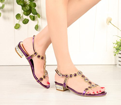 Rhinestones Sandals PU Leather Round Shoes Low Heel Party Honeystore Purple Women n6fEWxFx8