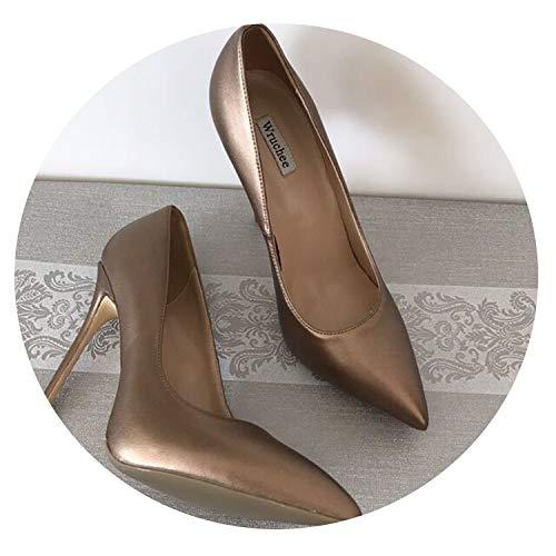 bsdSvdbfsxd high Heels Shoes Woman Leopard Patent Pointed Toe Women's Shoes 12cm Thin Heels,Copper 12cm,8