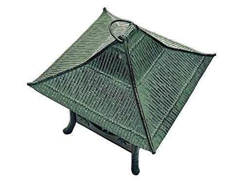 MORIKUNI Japanese Hanging Lantern Pendant Lighting Decoration Made of Cast Iron - Tsuridoro | for Outdoor, Garden, Patio, Porch, Gazebo (Takeshikaku)