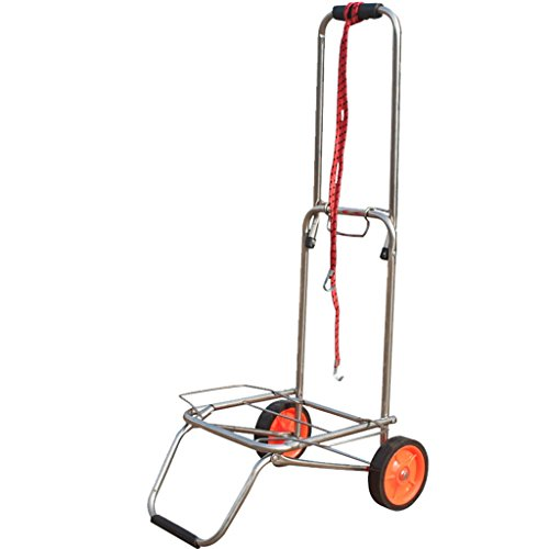 Handcart Stainless Steel Pull Rod Car Hand Truck Luggage Cart Small Trailer Folding Trolley Shopping Cart Portable Cart Load 50 Kg (Color : A) by Hw Ⓡ Handcart (Image #4)