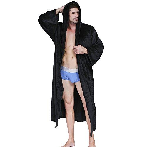 14eadf8863 WEEN CHARM Women Men Fleece Long Plus Size Kimono Robe Hooded Spa Plush  Flannel Bathrobe
