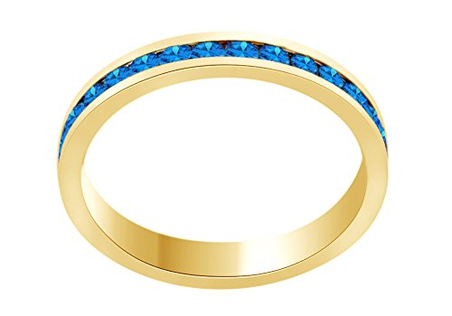 (AFFY Round Shape Simulated Blue Topaz Full Eternity Band Ring in 14K Yellow Gold Over Sterling Silver, Ring Size: 8)