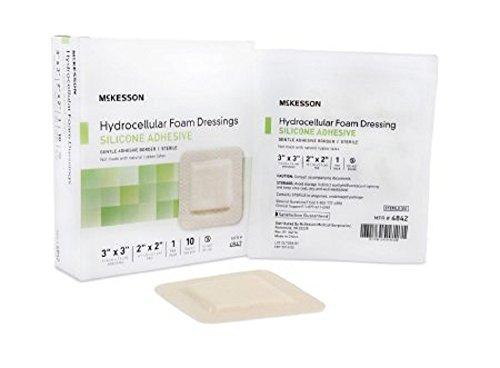 McKesson - Silicone Foam Dressing McKesson 7 X 7 Inch Sacral Adhesive with Border Sterile - 10/Box - McK Adhesive Hydrocellular Foam Dressing