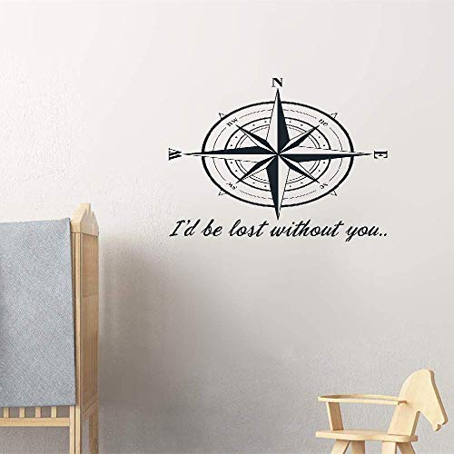 (Falaog Vinyl Decal Quote Art Wall Sticker Inspirational Quotes Compass Rose Id Be Lost Without You Quote Nautical for Living Room Bedroom Nursery Kids)