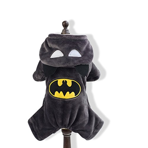 PETCUTE Halloween Dog Winter Wram Clothes Pet Batman Costume Suit with Cap Christmas Adorable Soft Cat Hoodie Coat (Cat Halloween Costumes Bat)