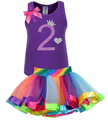 Bubblegum Divas Little Girls' 2nd Birthday Purple Rainbow Tutu Outfit 3