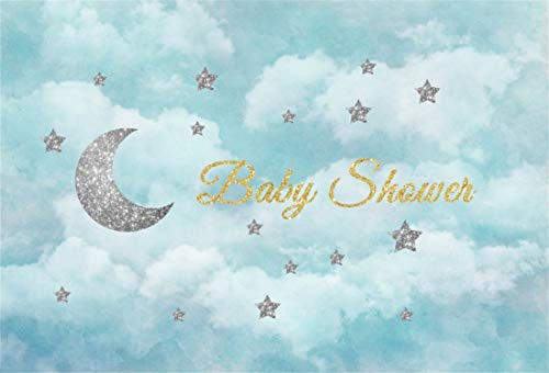 Yeele 7x5ft Baby Shower Vinyl Photography Background Gold Plating Words Baby Shower Moon Cloud Star Silver Flash Dream Fantasy Phantasy Photo Backdrops Pictures Studio Props -