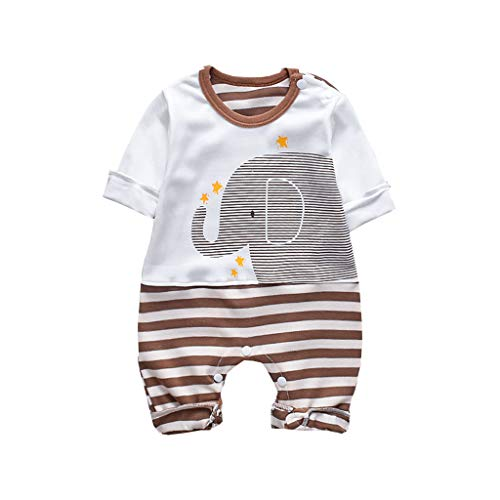 XEDUO Infant Baby Boys&Girls Long Sleeve Striped Elephant Romper Jumpsuit Clothes Brown