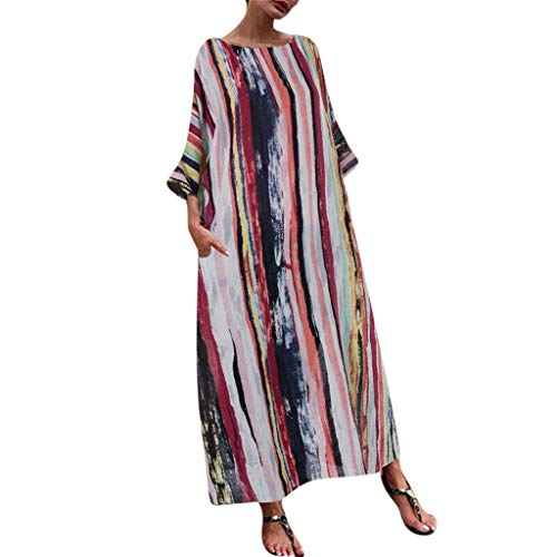 iHPH7 Maxi Dresses Summer Casual Loose Dress Beach Casual Plus Size Multicolor Stripe Lady Loose Long Maxi Dress Women (M,7- Multicolor)
