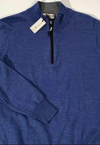 PETER MILLAR Men's Primrose Blue Merino Wool/Silk NAPA Leather Trim 1/4 Zip Pullover Sweater Small