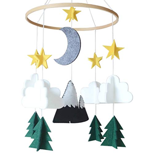 Sorrel and Fern Baby Crib Mobile Starry Woodland Night Nursery Decoration for Boys and Girls