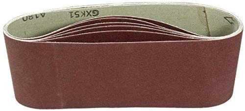 - Aluminum oxide sanding belt, polishing joint, 180 mm, 4 inches x 24 inches, 6 pieces