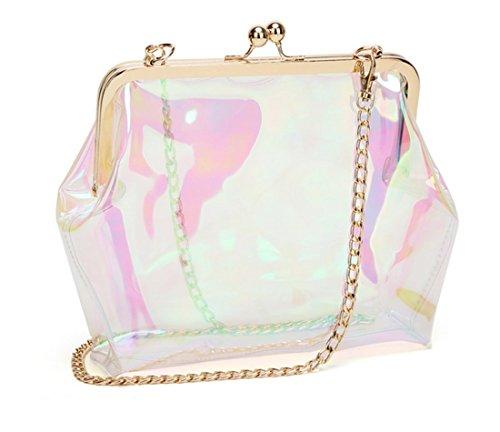 Marchome PVC Clear Women Clutch Chain Kiss Lock Hologram Transparent Crossbody Bag Purse Ur4UBxq