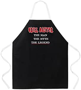 Attitude Aprons Fully Adjustable Grill Master Man Myth Legend Apron, Black