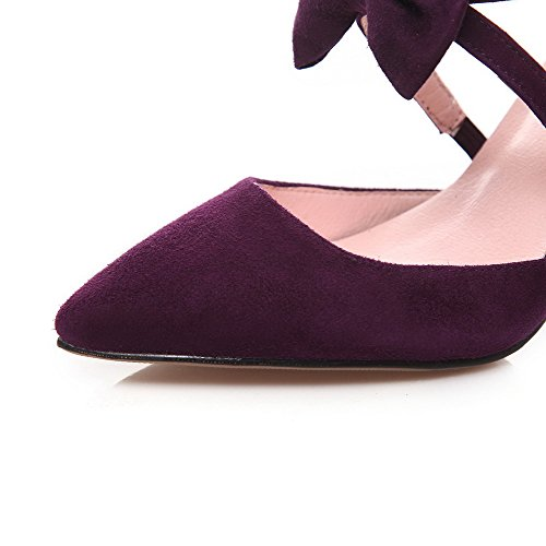 AllhqFashion Women's High-heels Frosted Solid pull-on Pointed Closed toe Sandals Purple aY4wjO