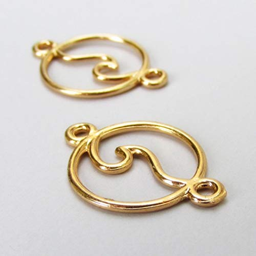 - Pendant Jewelry Making Ocean Wave Charms 28mm Gold Plated Connector 5pcs