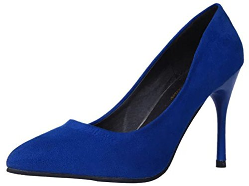 Passionow Women's Elegant Pointed Toe Stiletto High Heel Faux Suede Dress Party Basic Pumps (6 B(M)US,Blue)