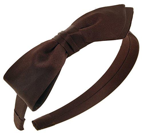 L. Erickson USA Bermuda Bow Headband - Silk Charmeuse Dark -