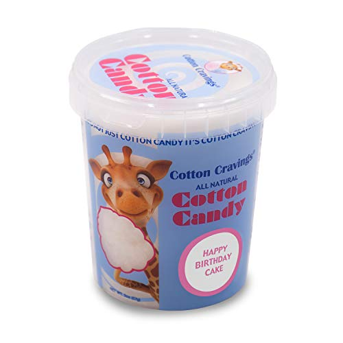 Cotton Cravings Grab & Go Cotton Candy Pack (2 oz) - All Natural Gourmet Flavors Made with Cane Sugar, Gluten Free - Happy Birthday Cake (Cotton Juice Candy Bar)