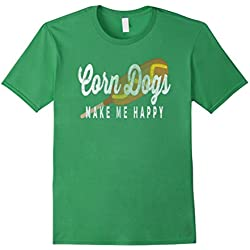 Men's Corn Dogs Make Me Happy Vintage Corndog Love Funny T-Shirt Green