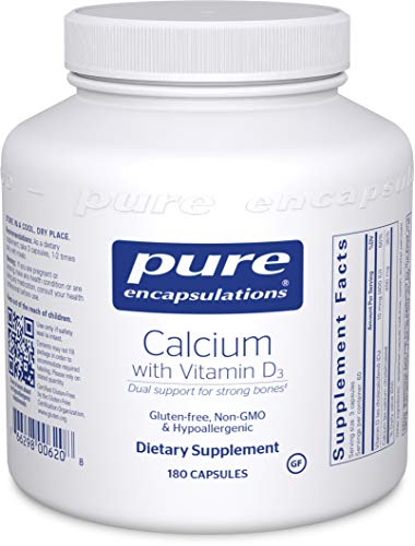Pure Encapsulations – Calcium with Vitamin D3 – Hypoallergenic Dietary Supplement Supports Bone, Colon, and Cardiovascular Health – 180 Capsules
