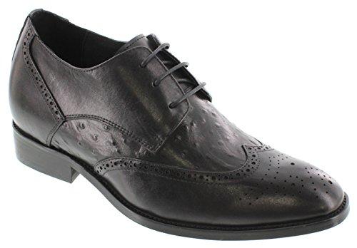 Calden-k62622-7,1cm Grande Taille-Hauteur Augmenter Chaussures ascenseur (en cuir noir à enfiler Bas)