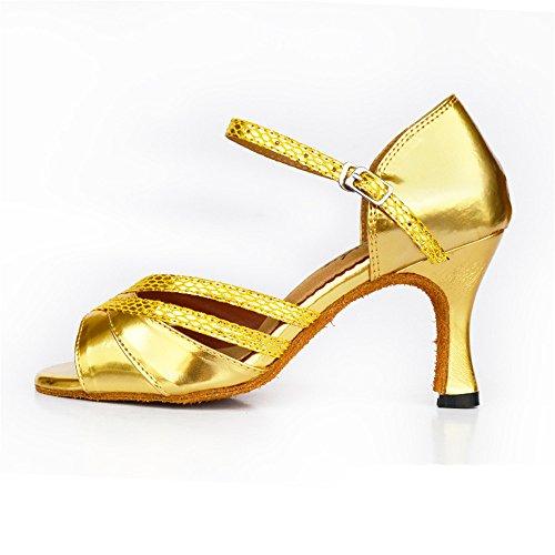 Señoras Moda Pu Zapatos De Baile Zapatos De Baile Cromo Latino Oro de 6cm.