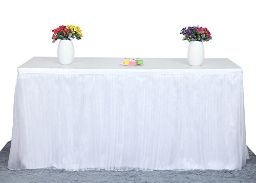 Deluxe Elegant Table Skirt For Party Decoration, Events, Meetings, Birthdays, Wedding, Baby Shower and Home Decoration by HBB Magic (9ft, White) … (Wedding Center)