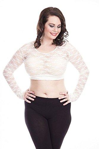 Halftee Lace Crop Top - Women's Scoop Neck Long Sleeve Ca...