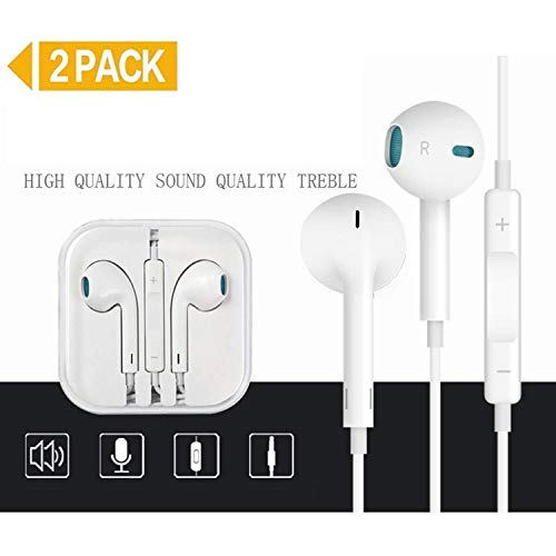 2 Pack Earphones/Earbuds/Headphones with Stereo Mic&Remote Noise Isolating Headset Smartphones for Phone 6/5/4 Pad Pod and More iOS Android Compatible with 3.5 mm Headphone-3 (White)