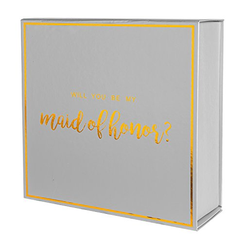 Crisky Silver Maid of Honor Proposal Box with Gold Foiled Text | 1 Empty Boxes | Perfect for Will You Be My Maid of Honor Gift and Wedding Present